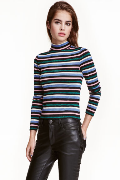 Striped turtleneck top - Multistriped - Ladies | H&M CA 1