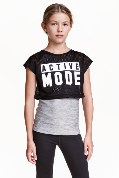 Printed sports top - Black/Grey - Kids | H&M CN 1