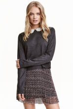 Jumper with a lace collar - Dark grey - Ladies | H&M CN 1
