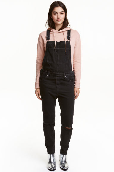 Denim dungarees - Black denim - Ladies | H&M 1
