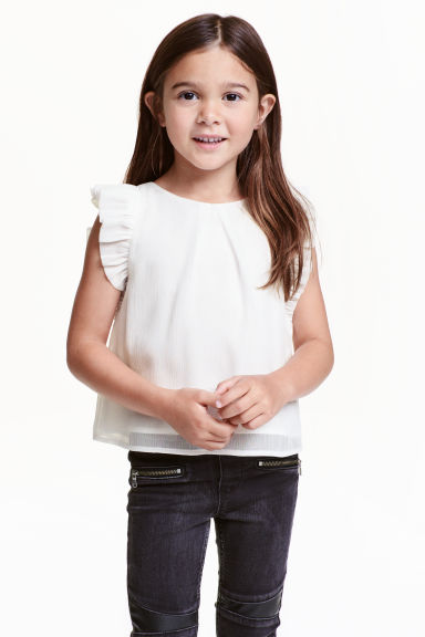 Glittery frilled top - White - Kids | H&M CN 1