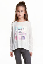 Long-sleeved jersey top - Light grey marl - Kids | H&M CN 1