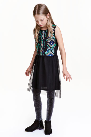 Sequined dress - Black/Turquoise - Kids | H&M CN