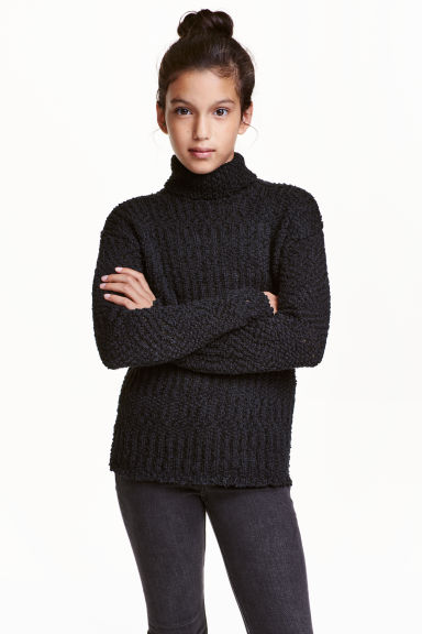 Knitted polo-neck jumper - Black - Kids | H&M CN 1