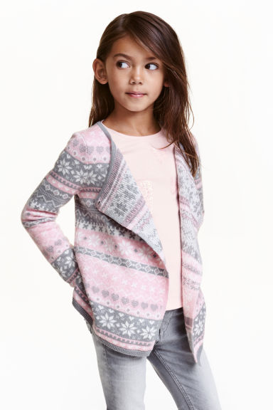 Wrapover cardigan - Pink/Grey - Kids | H&M CN 1