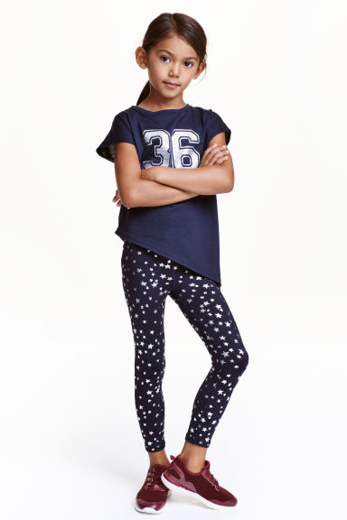 Patterned sports trousers - Dark blue/Stars - Kids | H&M CN 1
