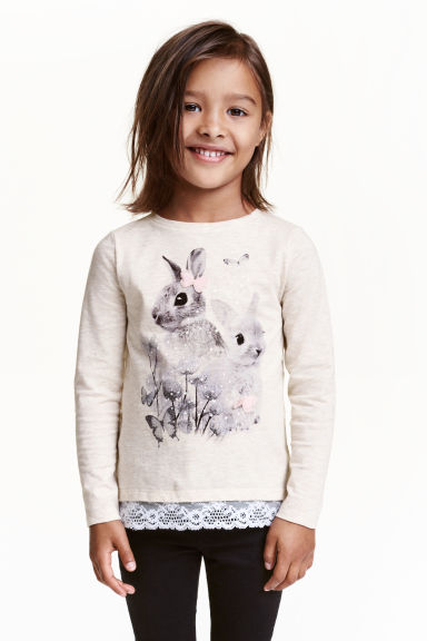 Jersey top with a lace trim - Light beige/Rabbit - Kids | H&M CN 1