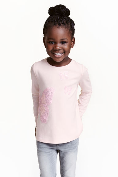 Jersey top with appliqués - Light pink - Kids | H&M CN 1
