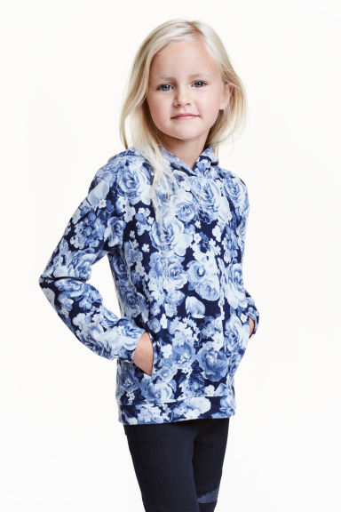 Hooded top - Dark blue/Floral - Kids | H&M CN 1