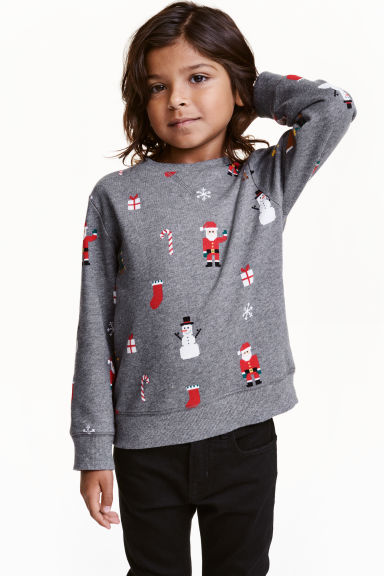 Christmas sweatshirt - Grey/Santa - Kids | H&M CN 1