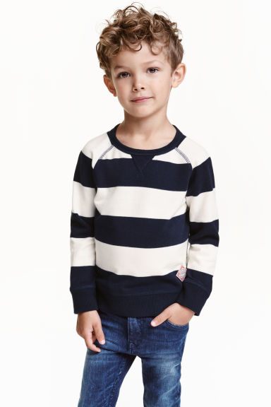 Striped cotton jumper - Dark blue - Kids | H&M CN 1