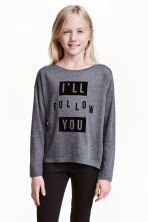 Printed jersey top - Dark grey marl - Kids | H&M CN 1