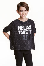 Oversized top - Black marl - Kids | H&M CN 1