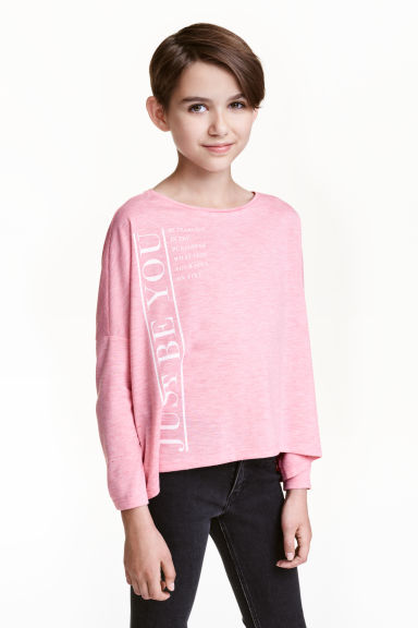 Oversized top - Pink marl - Kids | H&M CN 1