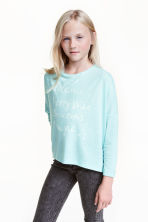 Oversized top - Light turquoise marl - Kids | H&M CN 1