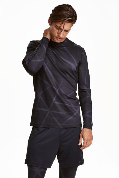 Thermal sports top - Black/Patterned - Men | H&M CA