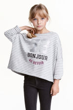 Oversized top - Grey/Striped - Kids | H&M CN 1