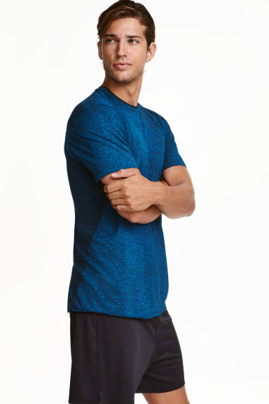 Top training sans coutures - Bleu chiné - HOMME | H&M CH 1