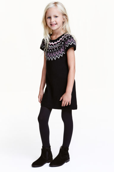 Jacquard-knit dress - Black - Kids | H&M CN 1