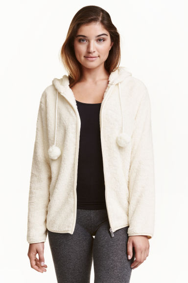 Hooded plush jacket - Natural white - Ladies | H&M CN 1