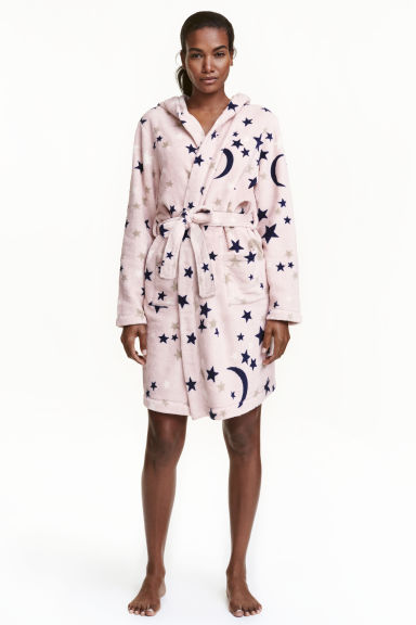 Fleece dressing gown - Pink/Stars -  | H&M GB 1