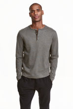 Henley shirt - Grey marl/Multi - Men | H&M CN 1