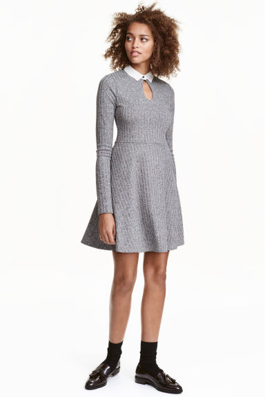 Ribbed dress - Grey - Ladies | H&M GB 1
