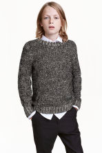 Knitted jumper - Black marl - Kids | H&M CN 1