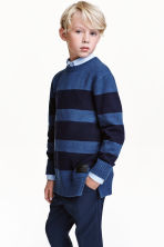 Knitted jumper - Dark blue/Striped - Kids | H&M CN 1