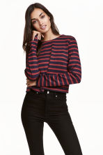 Cropped top - Dark blue/Striped - Ladies | H&M CN 1