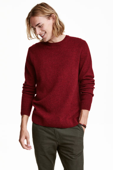 Wool-blend jumper - Dark red - Men | H&M CN 1