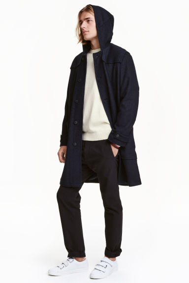 Wool-blend duffle coat - Dark blue - Men | H&M CN 1
