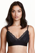 Non-wired lace triangle bra - Black - Ladies | H&M CN 1
