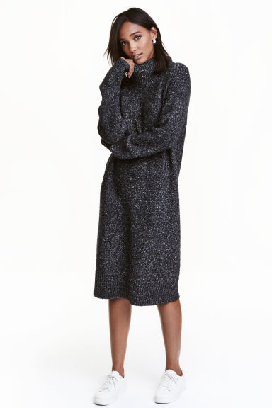 Knitted turtleneck dress - Black marl - Ladies | H&M GB 1