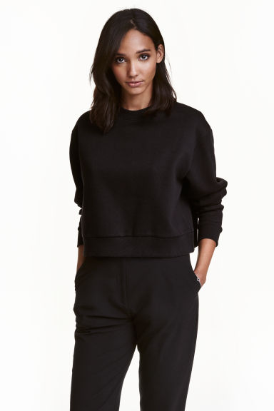 Short sweatshirt - Black - Ladies | H&M 1