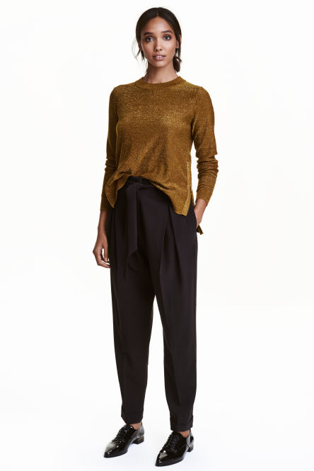 Wide lyocell-blend trousers