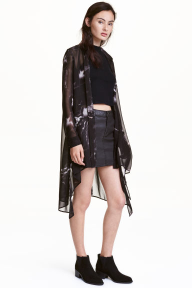 Camicetta lunga in chiffon - Nero - DONNA | H&M IT 1
