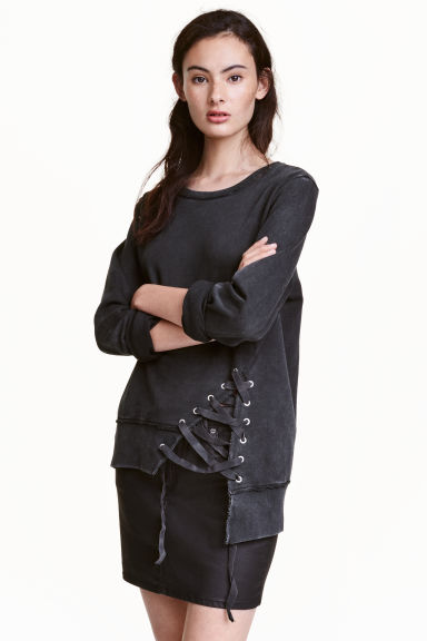 Sweatshirt with lacing - Dark grey - Ladies | H&M CN 1