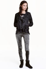 Crushed velvet leggings - Dark grey - Ladies | H&M CN 1