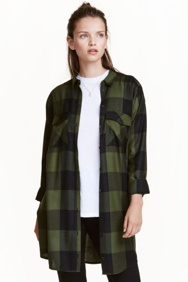 Long shirt - Khaki green/Checked - Ladies | H&M CN 1