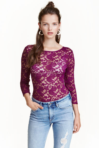 Lace body - Dark purple - Ladies | H&M CN 1