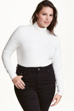 H&M+ Polo-neck top - White - Ladies | H&M CN 1