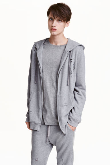 Hooded jacket Trashed - Grey - Men | H&M CN