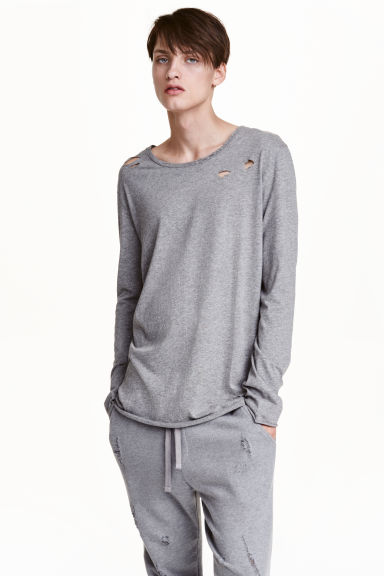 Trashed long-sleeved T-shirt - null - Men | H&M CN 1