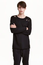 Trashed long-sleeved T-shirt - Black - Men | H&M CN 1