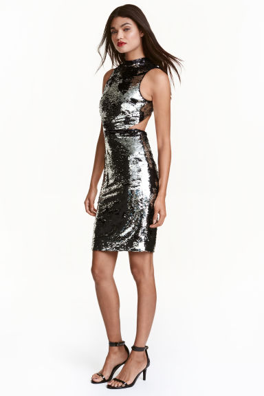 Sequined dress - Silver/Black - Ladies | H&M CN 1