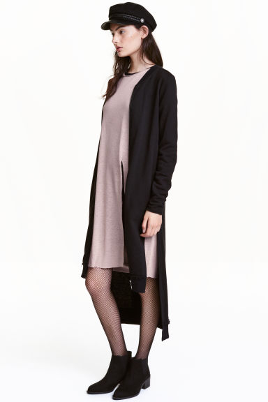 Long sweatshirt cardigan - Black - Ladies | H&M GB
