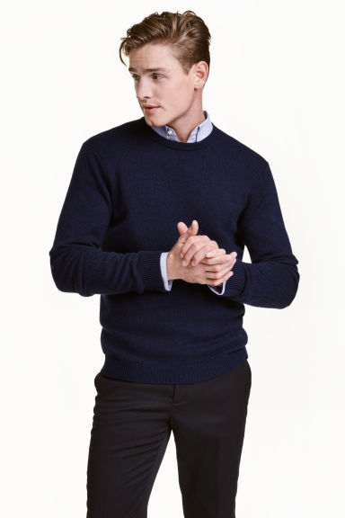 Lambswool jumper - Dark blue - Men | H&M CN 1