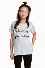Sequined jersey top - Grey/Justin Bieber - Kids | H&M CN 1