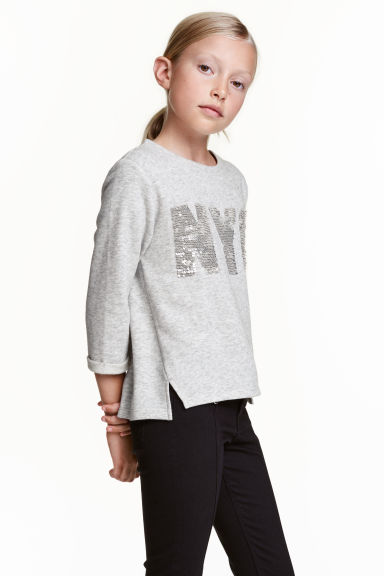 Sweatshirt with a text motif - Grey/New York -  | H&M CN 1